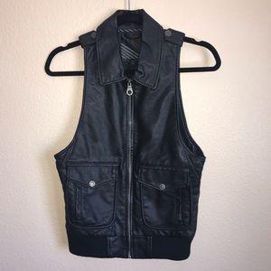 Black Faux Leather Zip Up Vest